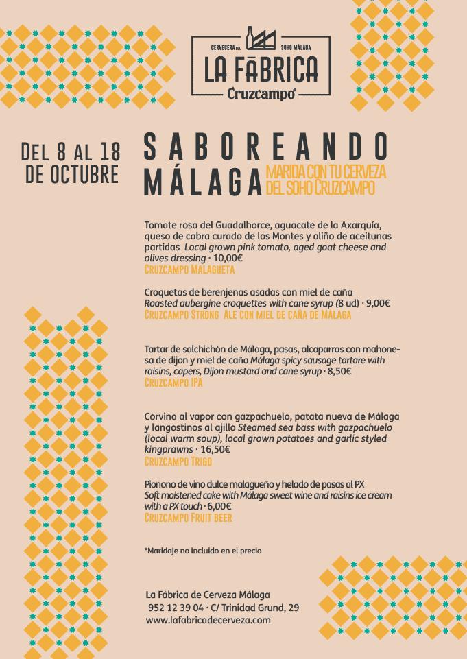 """Carta """"Saboreando Málaga"""""""